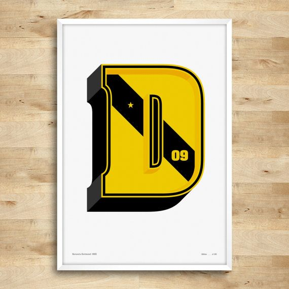 D is for Dortmund. Designed for Borussia Dortmund fans, this is a beautifully crafted typographic print made with the initial letter of Dortmund. It makes