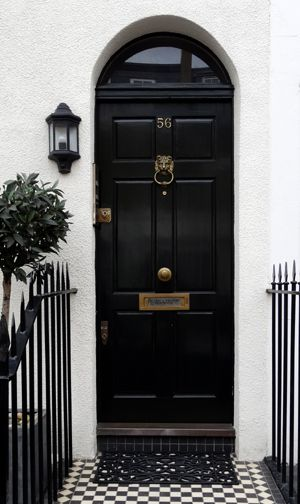 Black London door with brass door furniture. Classic look.  Photo©Aybige Mert. For the brassware click below: http://www.priorsrec.co.uk/door-furniture/c-p-0-0-3