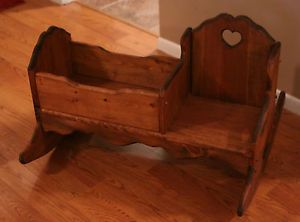 wooden rocking doll cradle | Child's Wooden Rocker Rocking Chair w Baby Doll Cradle Handcrafted ...