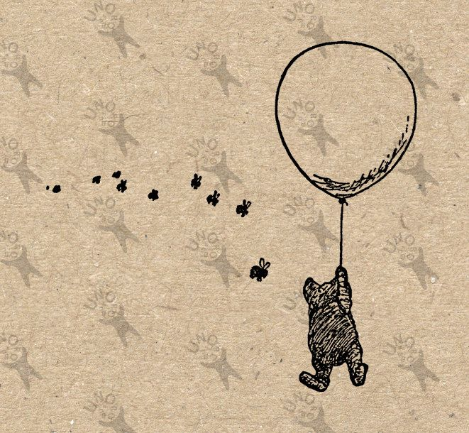 Winnie the Pooh Balloon Bees drawing Instant Download Digital printable vintage clipart  graphic burlap paper transfer scrapbooking HQ300dpi by UnoPrint on Etsy