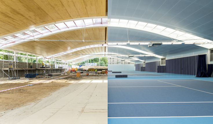 The hall is 35m wide and 55m long. The main span consists of suspended steel beams. To give the courts space and reduce the cost of these complex beams, they are placed with large gaps of 12.9 meters. Images by Metsä Wood / The Hurligham Club, London