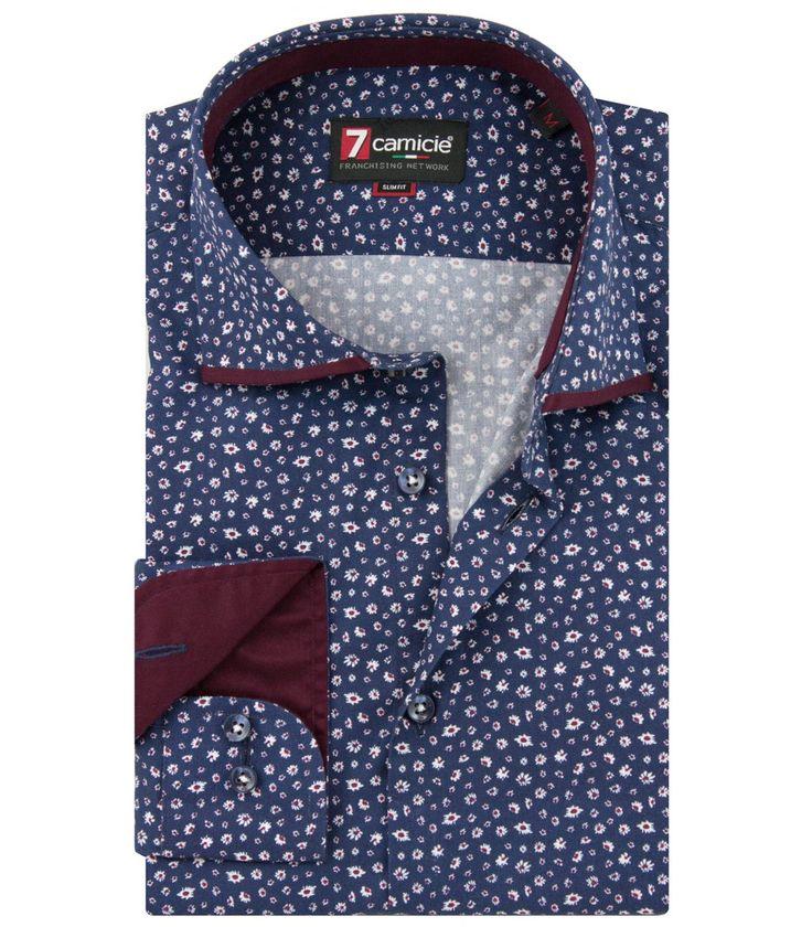 Shirt Men Long sleeve shirt 1 Button slim twillfantasy BlueWhite