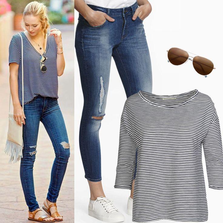 Всегда актуальная футболка в полоску Armedangels и стильные скинни DL1961 с рваными деталями – ценная гардеробная инвестиция, которая никогда не утратит своей актуальности. По вопросам инвестиций обращайтесь в JiST, ул.Саксаганского 65 или jist.ua #fashionable #summer #outfitidea: #stylish & #trendy #blue #DL1961 #jeans & #stripie #tshirt help to create #chic #outfit #мода #стиль #тренды #джинсы #футболка #модно #стильно