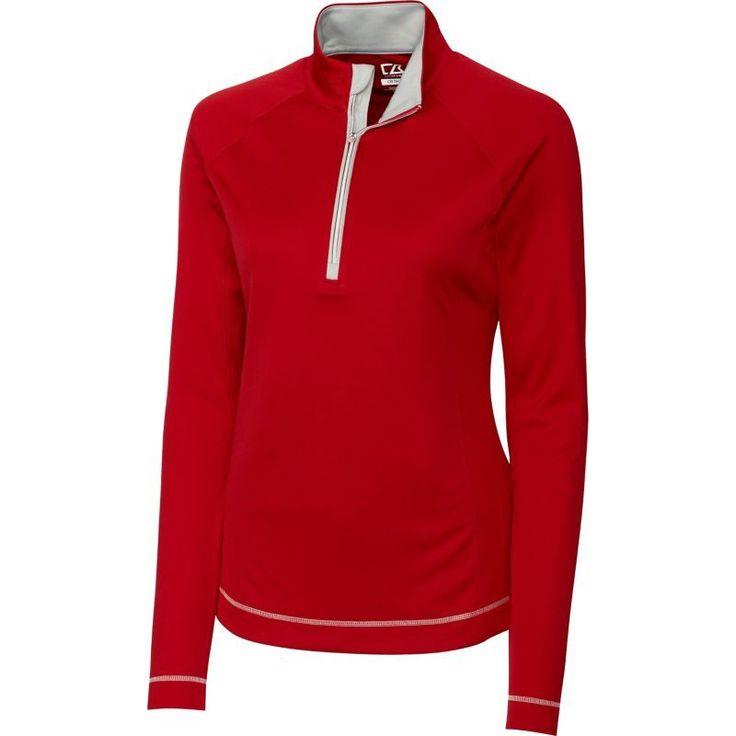 Cutter & Buck Women's DryTec Long Sleeve Evolve Half-Zip Golf Jacket, Size: Medium, Cardinal Red