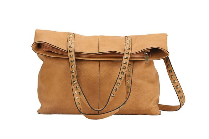 SO TANNED FOLD-OVER LARGE TOTE