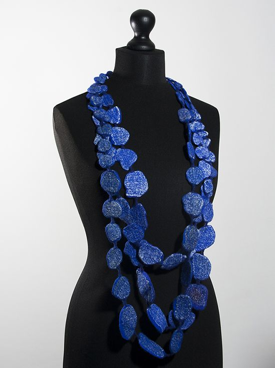 Charlotte Molenaar -  Delft blue blown to smithereens (necklace), 2014 felted wool with silk fabric, total length 60""