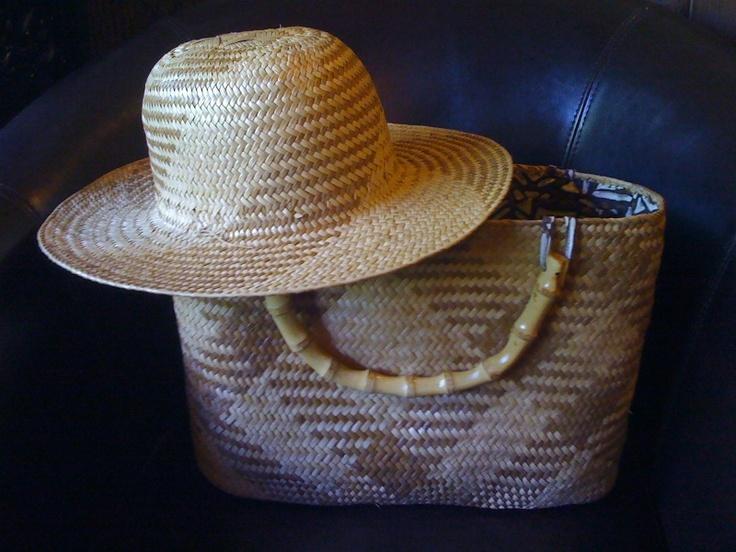Beautiful handmade two color lauhala purse and hat. Hawaii