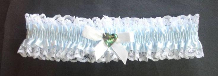 Garter:- Ice Blue - Paua Shell Heart