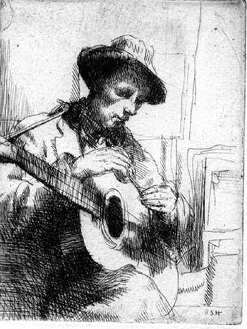 The Guitar, Etching, 1930.