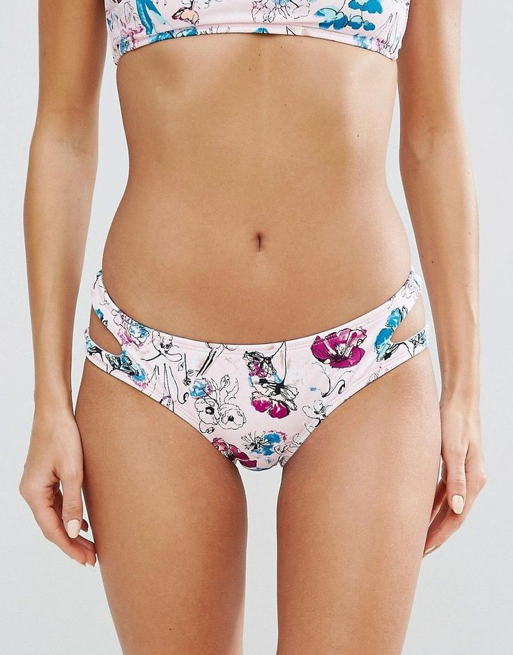 Bikini Lab Floral Cut Out Bikini Bottom - Multi