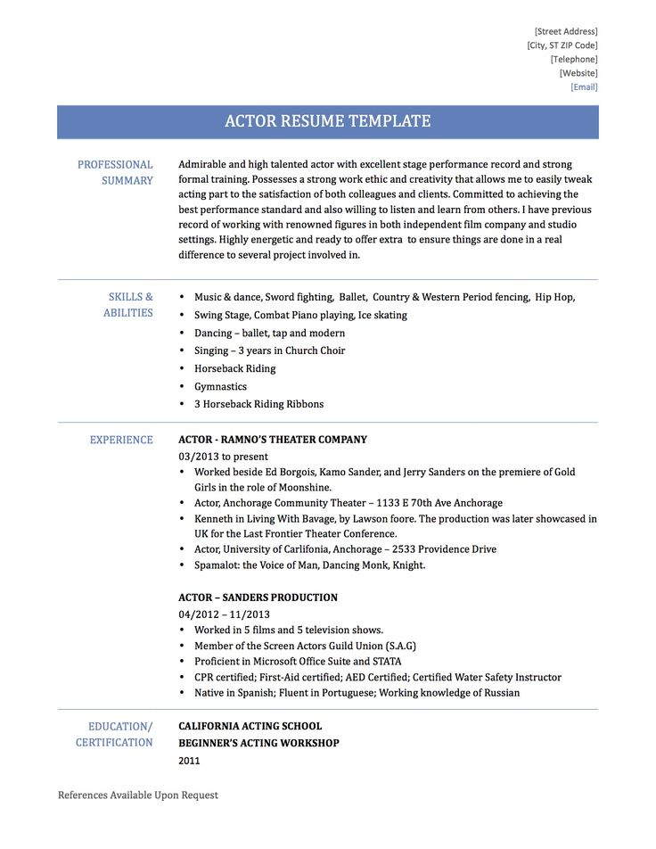 Beginner Resume Samples Summary Qualifications Example Free Acting Template  Examples Word Actors Mdxar