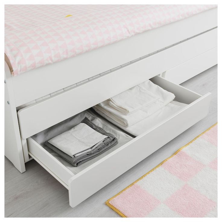 Best Släkt Pull Out Bed With Storage White Twin Pull Out 400 x 300