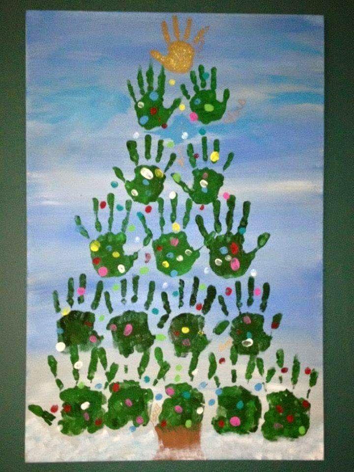 hand print diy christmas deko fenster geschenk