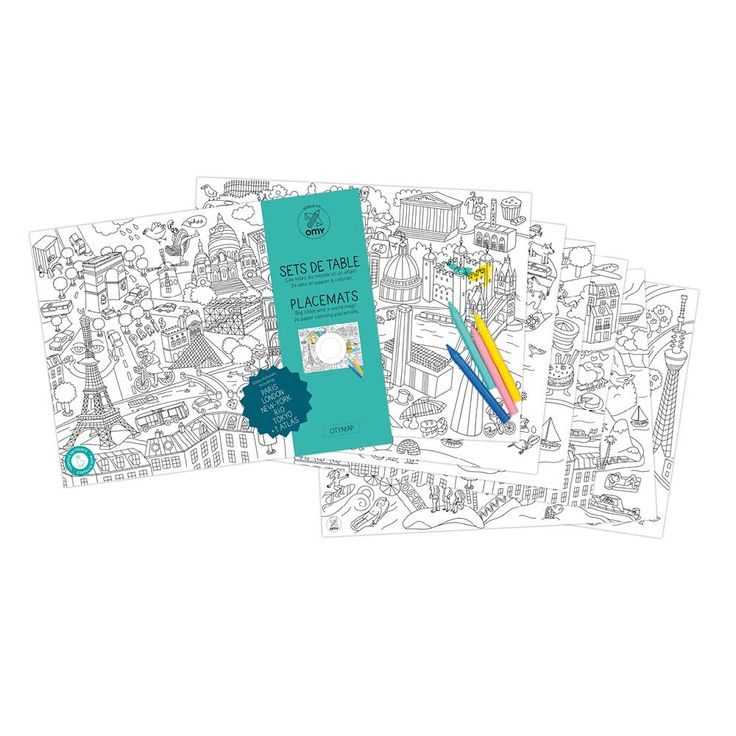 molly meg 24 colour in placemats, city map