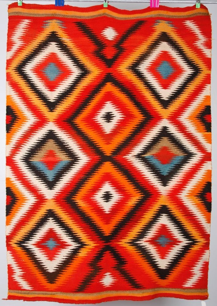 "I was recently consigned the estate of Margaret and Turner Branch, world renowned collectors of Native American art. Highest quality Navajo textiles, moccasins, jewelry and fine art will be sold. Rug is 56"" X 81"". 