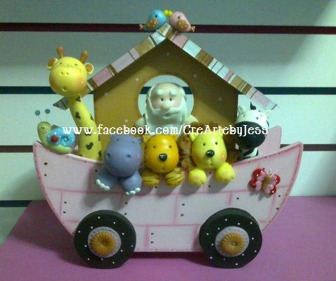 Linda arca de Noe, centro de mesa para baby shower