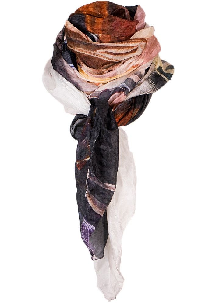 Cashmere Silk Scarf - Brown with blue hats by VIDA VIDA BjkNoA