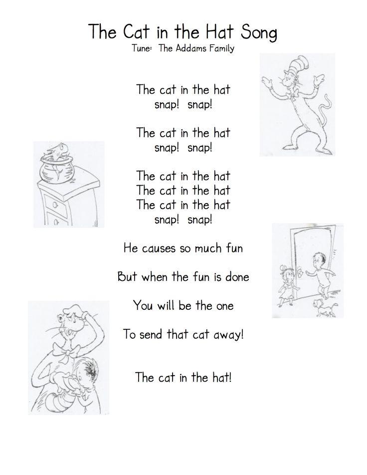 Cat in the Hat Song & Activities (from Kindergarten Nana)