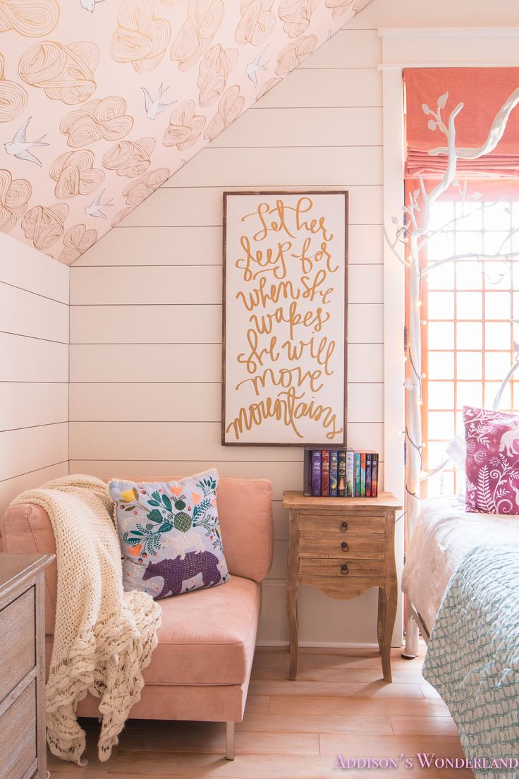 Inside My Daughter's Beautiful Harry Potter Themed Bedroom...    daydream-blush-wallpaper-whitewashed-hardwoods-shaw-muirs-park-bridal-veil-wallpapered-ceiling-sputnik-chandelier-fur-bench-white-canopy-bed-orange-pink-rug-anthropologie-quilt-craftsman-door-shiplap-alabaster-sherwin-williams-roman-shades