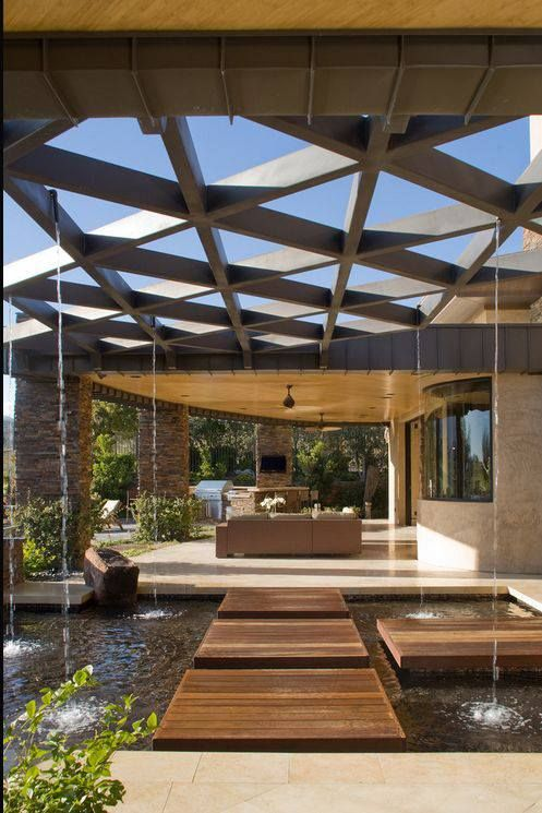 Luxury pool as decoration and part of the floor plan distribution.