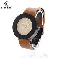 BOBO BIRD H13 Деревянные Часы 22 см Смотреть Band для женщины Мужчины Вуд Кварцевые Часы Кожаные Ремни Мужская Мода часы