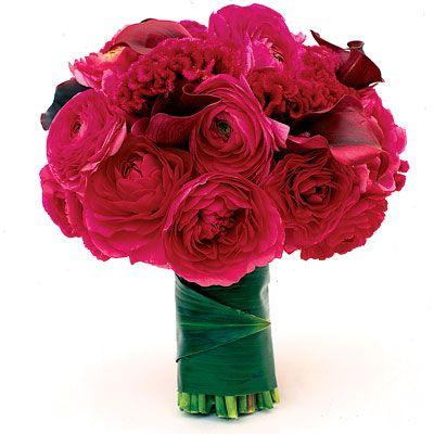 Fuschia round bouquet; roses