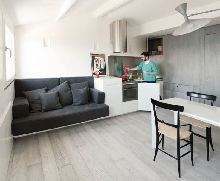 Two bedrooms, a studio, a living room, a kitchen and a bathroom squeezed into a 376f sq ft apartment