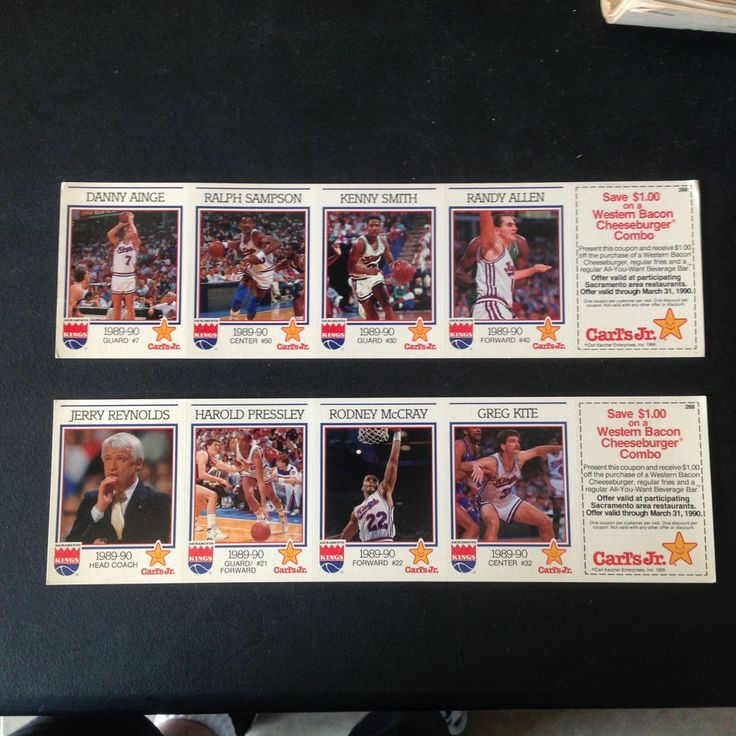 1989-90 Sacramento Kings Carl's Jr 2 Intact / Unseparated Strips Jerry Reynolds