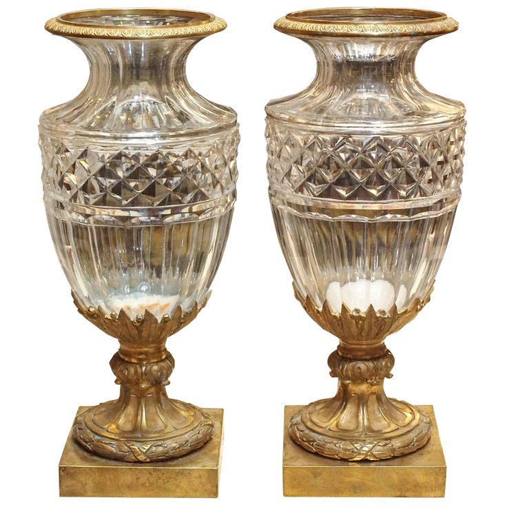 Pair of Baccarat Vases with Gilt Bronze Mounts | From a unique collection of antique and modern vases at https://www.1stdibs.com/furniture/dining-entertaining/vases/