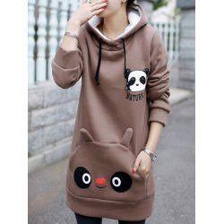 Stylish Hooded Long Sleeve Panda Pattern Maternity Women's Hoodie
