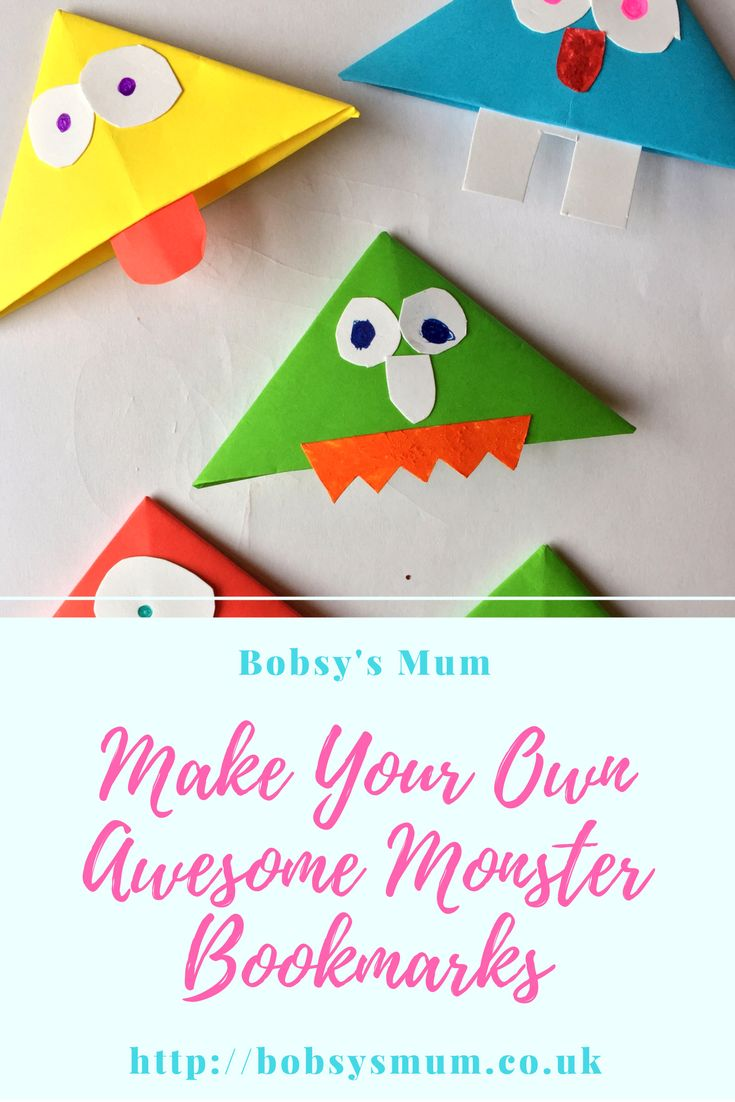 Easy homemade monster bookmarks. Kids craft.