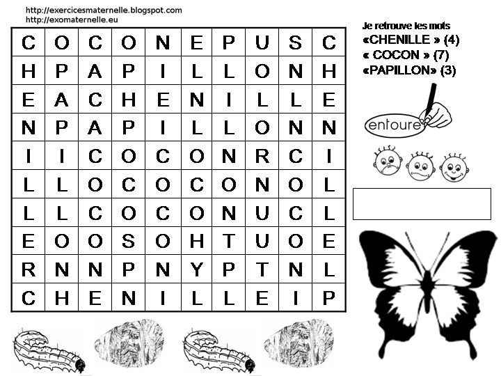 Maternelle mots m l s avec une chenille un cocon et un - Papillon maternelle ...