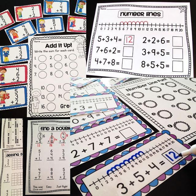 First Grade Math Ideas for the Entire Year! Must read this blog!! This shows some adding 3 numbers strategies like finding a double make a 10 and number lines