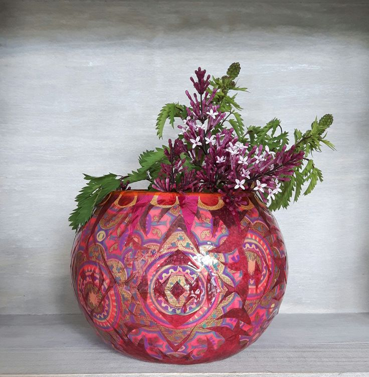 Decorative vases, bubble vases, unique vases, quirky vases, pink vases, red vases, hand decorated vases, decoupage vases, decorated vases by StyxOnGlass on Etsy