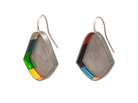 Colour Strip earrings by Anna Clynes  (Stainless steel, sterling silver, paint)
