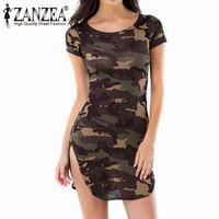 Zanzea Vestidos 2016 Zomer Sexy Vrouwen Jurk Camouflage Gedrukt Korte Mouw Lange Tops Shirts Mini Jurken Plus Size S-3XL
