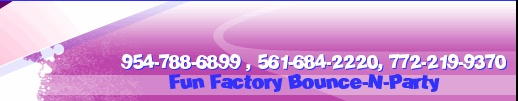 The Fun Factory Bounce is Proud to introduce our new CARNIVAL ATTRACTIONS. * 954-788-6899 * 561-684-2220 * 772-219-9370. Serving Broward, West Palm Beach, Miami Dade, & The Treasure Coast. We are family owned and operated. Fully Licensed for ALL Parks & Venues. Bounce Houses, Slides, Carnival Rides, Mechanical Rides, Carnival Games, Obstacle Courses, Interactive Games, Snack Machines, Ponies, Petting Zoo, Rockwalls, Bungee Jump, Clowns, Characters, & MUCH MUCH More !! Check us out on…