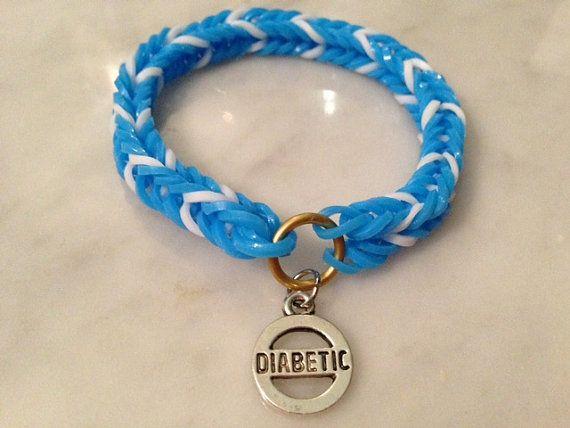 Diabetes Medical Alert Rainbow Loom Bracelet Diabetic
