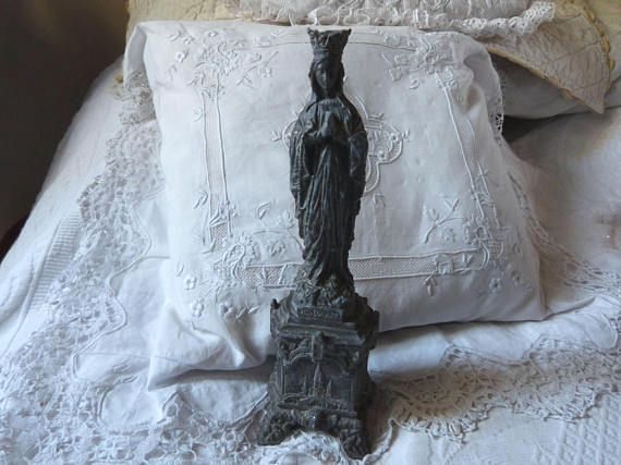 ♮❁ Antique French religious statue Holy #virgin Mary of Lourdes #madonna ou... http://etsy.me/2iaGpfP