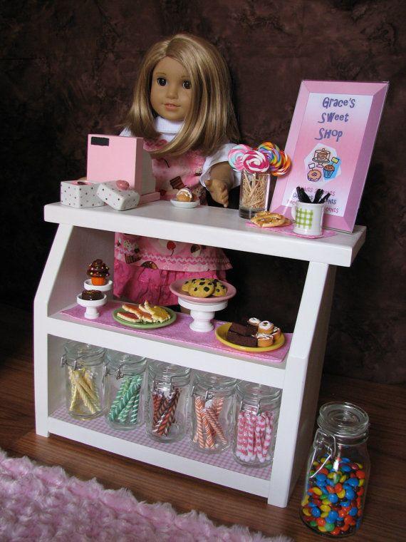 "Bakery Case with Cash Register - Sweet Shop Cafe / Bakery Set for American Girl / 18"" dolls"
