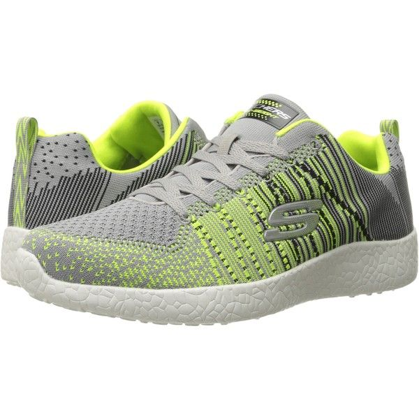 SKECHERS Energy Burst In The Mix (Light Gray/Lime) Men's Shoes (100 SAR) ❤ liked on Polyvore featuring men's fashion, men's shoes, grey, skechers mens shoes, mens sport shoes, lime green mens shoes, mens shoes and mens grey shoes