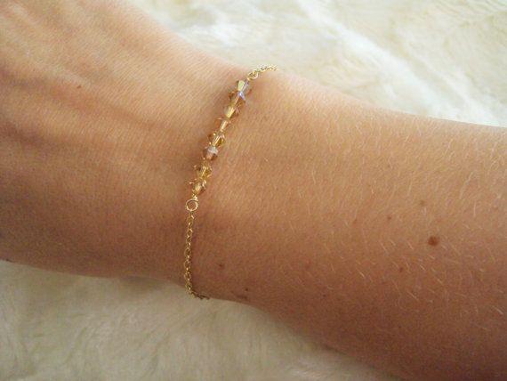 Swarovski golden crystal slim bracelet with gold filled chain