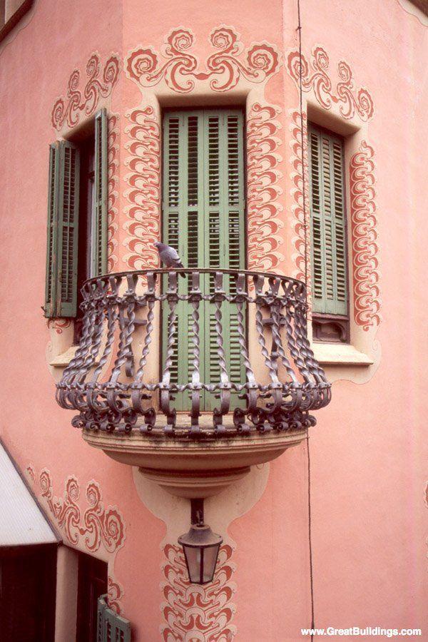 QuaintBalconies, Rear Windows, Buildings, Catalonia Spain, Pink, Architecture, Barcelona Spain, Antoni Gaudí, Spain Barcelona