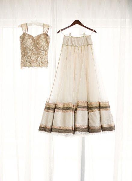 Lace choli, net ghagra with border, contrast dupatta