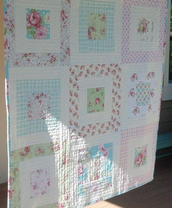 Shabby Chic Quilt, Tanya Whelan Shabby Chic Quilt, Tanya Whelan Fabrics Throw, Lap Quilt, Floral Quilt, Rosey, Slipper Roses, Sunshine Roses; a nice pattern for QAYG