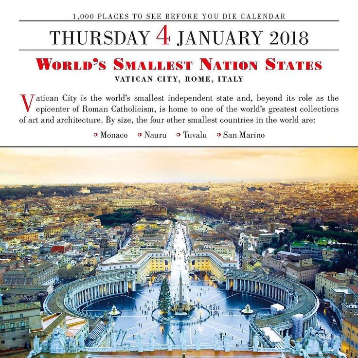 Worlds Smallest Nation States VATICAN CITY ROME ITALY Vatican City is the worlds smallest independent state and beyond its role as the epicenter of Roman Catholicism is home to one of the worlds greatest collections of art and architecture.