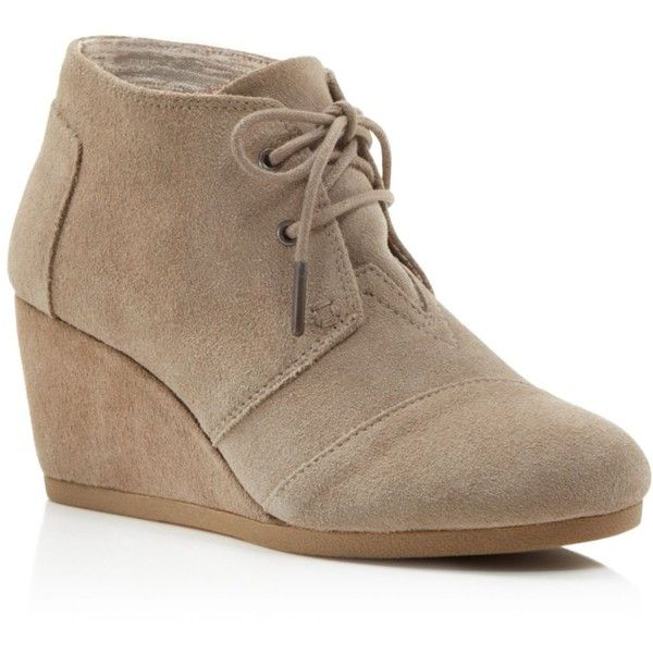 TOMS Suede Desert Wedge Booties (115 CAD) ❤ liked on Polyvore featuring shoes, boots, ankle booties, toms boots, lace-up ankle booties, laced up wedge booties, wedge booties and lace up boots
