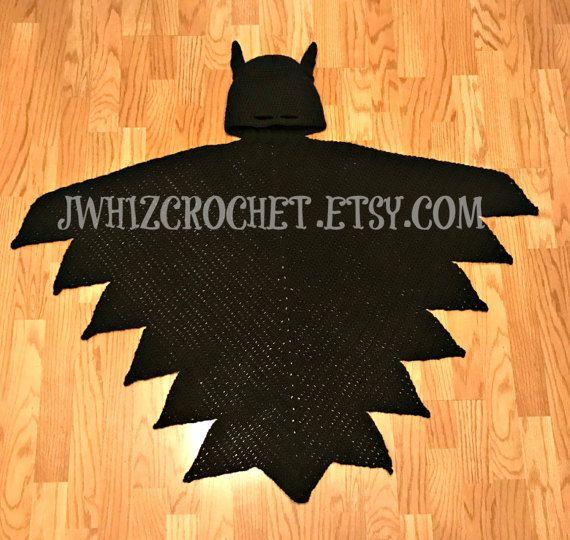 Crochet Hooded Batman Cape Blanket Pattern Toddler Size, Child Size, Adult Size JwhizCrochet.Etsy.Com $2.99