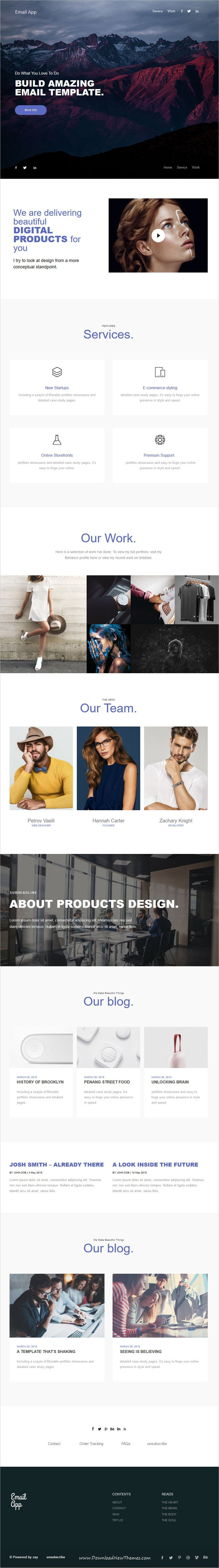 Email App is clean and modern minimal design 5in1 responsive #email #newsletter #template for viral marketing with 200+ modules to live preview & download click on image or Visit  #emailmarketing