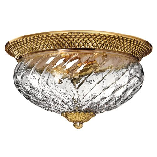 "16"" w 3-60 watt blubs Plantation Burnished Brass Flush Mount Ceiling Light Hinkley Flush Mount Flush & Semi Flu"